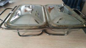 Patery do dań- szklane z podgrzewaczami